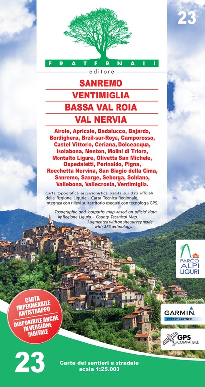FRA-23 Sanremo - Mentone - Bassa Val Roya - Val Nervia | wandelkaart 1:25.000 9788897465294  Fraternali Editore   Wandelkaarten Genua, Ligurië