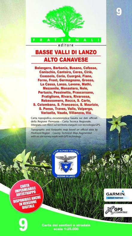 FRA-09  Basse Valli di Lanzo, Alto Canavese | wandelkaart 1:25.000 9788897465348  Fraternali Editore   Wandelkaarten Turijn, Piemonte