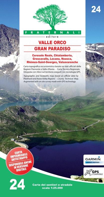 FRA-24 Alta Valle Orco - Gran Paradiso | wandelkaart 1:25.000 9788897465355  Fraternali Editore   Wandelkaarten Aosta, Gran Paradiso, Turijn, Piemonte