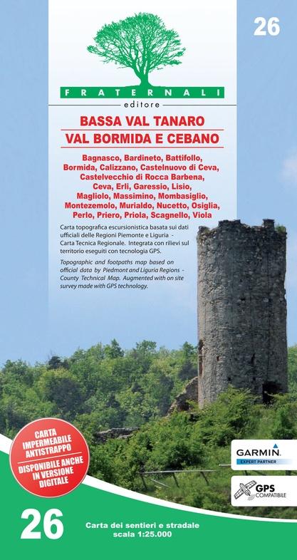 FRA-26 Alta Val Tanaro - Alta Valle Bormida di Millesimo | wandelkaart 1:25.000 9788897465379  Fraternali Editore   Wandelkaarten Turijn, Piemonte