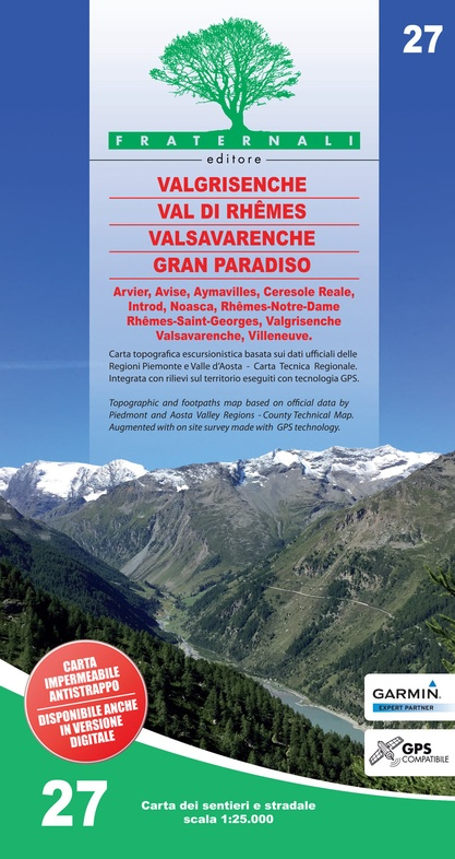 FRA-27  Valgrisenche - Val di Rhêmes - Valsavarenche - Gran Paradiso | wandelkaart 1:25.000 9788897465430  Fraternali Editore   Wandelkaarten Aosta, Gran Paradiso