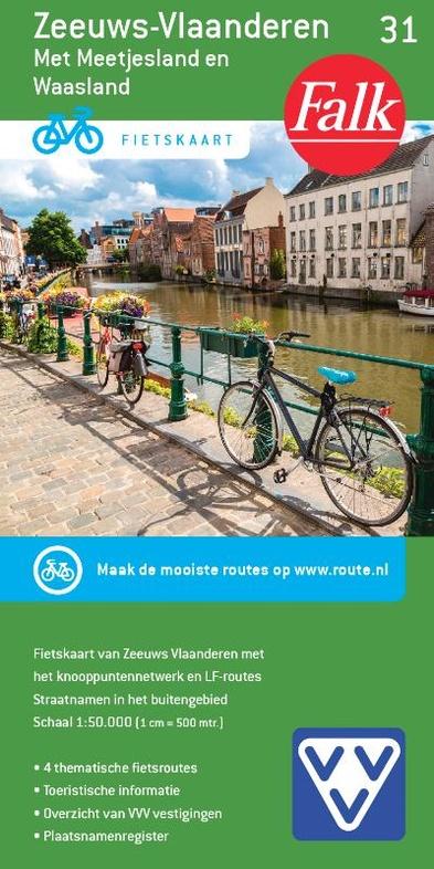 FFK-31 Zeeuws-Vlaanderen | VVV fietskaart 1:50.000 9789028700413  Falk Fietskaarten met Knooppunten  Fietskaarten Vlaanderen & Brussel, Zeeland