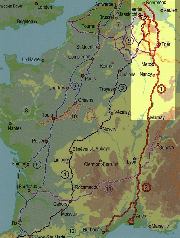 De Groene Weg naar de Middellandse Zee, deel 1   fietsgids 9789064558863 Europafietsers Pirola Pirola fietsgidsen  Fietsgidsen, Meerdaagse fietsvakanties Frankrijk