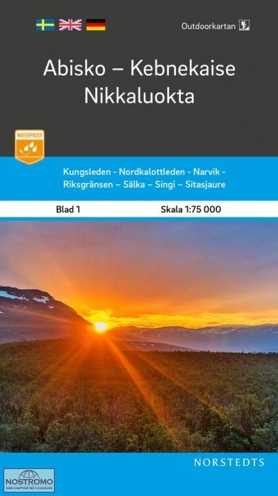 OK-01  Abisko, Kebnekaise, Nikkaluokta 1:75.000 9789113104980  Norstedts Outdoorkartan (Fjällkartan)  Wandelkaarten Zweden boven Uppsala