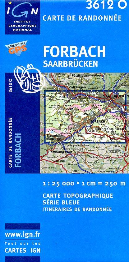 3612 Ouest  Forbach | topografische wandelkaart 1:25.000 3612O  IGN Serie Bleue 1:25.000  Wandelkaarten Vogezen
