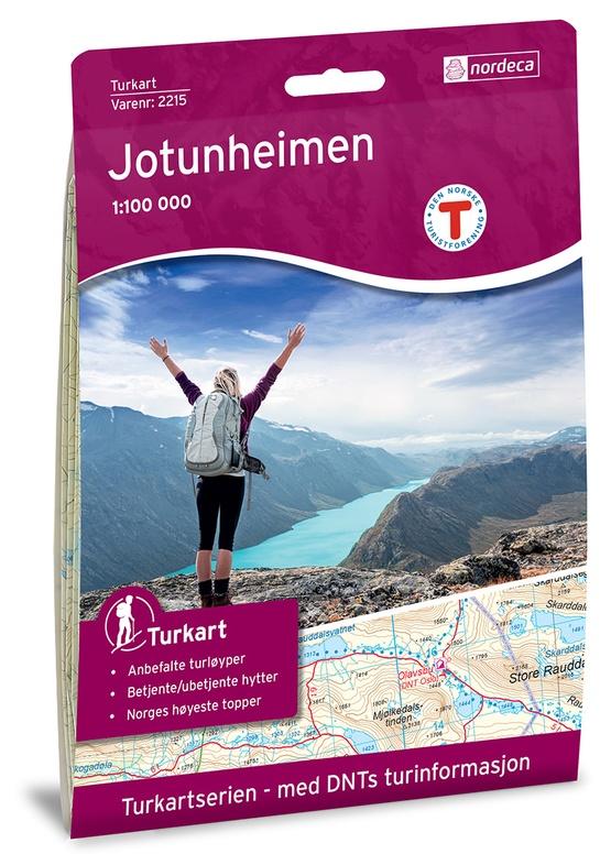 UG-2215  Jotunheimen 1:100.000 7046660022153  Nordeca / Ugland Turkart Norge 1:100.000  Wandelkaarten Noorwegen boven de Sognefjord