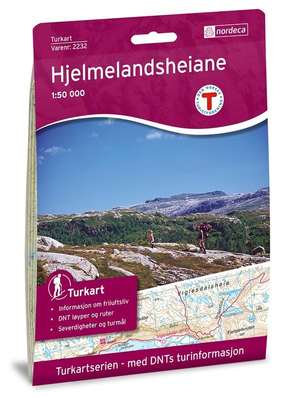 UG-2232 Hjelmelandsheiane | topografische wandelkaart 1:50.000 7046660022320  Nordeca / Ugland Turkart Norge 1:50.000  Wandelkaarten Zuid-Noorwegen