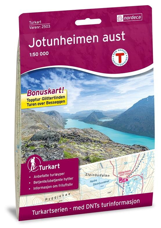 UG-2503  Jotunheimen Aust | topografische wandelkaart 1:50.000 7046660025031  Nordeca / Ugland Turkart Norge 1:50.000  Wandelkaarten Noorwegen boven de Sognefjord