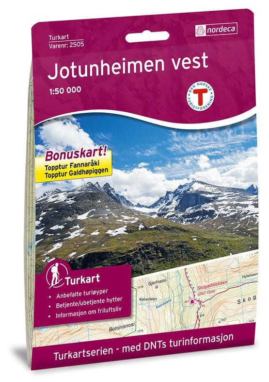 UG-2505  Jotunheimen Vest | topografische wandelkaart 1:50.000 7046660025055  Nordeca / Ugland Turkart Norge 1:50.000  Wandelkaarten Noorwegen boven de Sognefjord