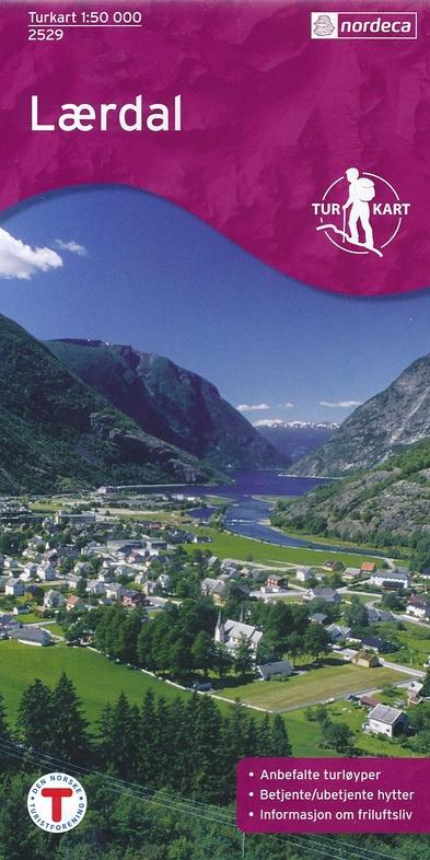 UG-2529  Laerdal | topografische wandelkaart 1:50.000 7046660025291  Nordeca / Ugland Turkart Norge 1:50.000  Wandelkaarten Zuid-Noorwegen