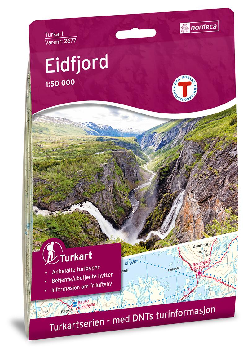 UG-2677  Eidfjord | topografische wandelkaart 1:50.000 7046660026779  Nordeca / Ugland Turkart Norge 1:50.000  Wandelkaarten Zuid-Noorwegen