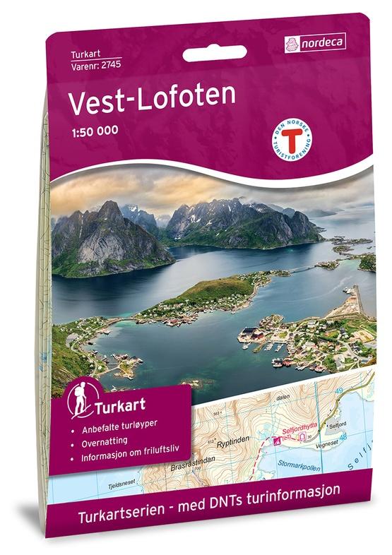 UG-2745  Vest-Lofoten | topografische wandelkaart 1:50.000 7046660027455  Nordeca / Ugland Turkart Norge 1:50.000  Wandelkaarten Noorwegen boven de Sognefjord
