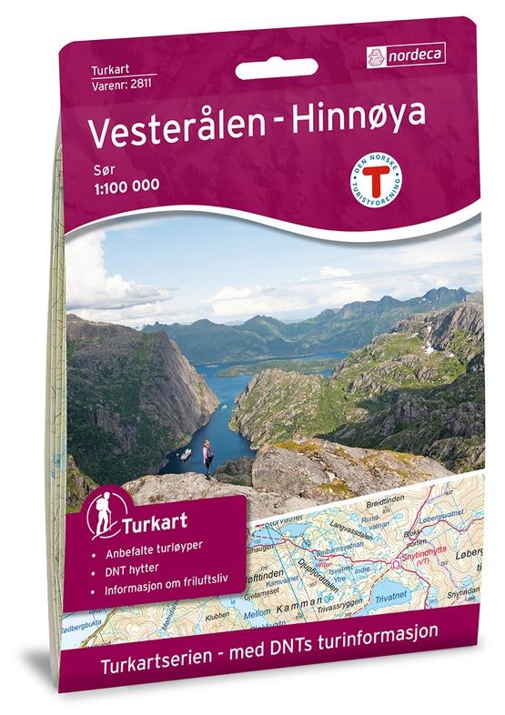 UG-2811  Vesteralen Hinnoya zuid 1:100.000 7046660028117  Nordeca / Ugland Turkart Norge 1:100.000  Wandelkaarten Noorwegen boven de Sognefjord