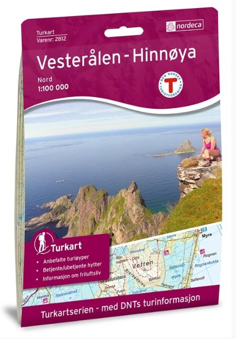 UG-2812 Vesteralen Hinnoya noord 1:100.000 7046660028124  Nordeca / Ugland Turkart Norge 1:100.000  Landkaarten en wegenkaarten, Wandelkaarten Noorwegen boven de Sognefjord