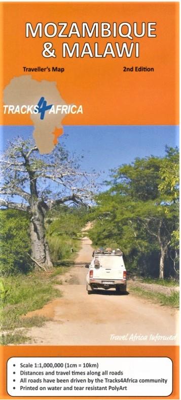 Mozambique traveller's map (wegenkaart) 1:1.000.000 9780992182977  Tracks4Africa   Landkaarten en wegenkaarten Angola, Zimbabwe, Zambia, Mozambique, Malawi