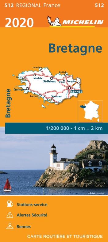 512 Bretagne | Michelin  wegenkaart, autokaart 1:200.000 9782067243903  Michelin Regionale kaarten  Landkaarten en wegenkaarten Bretagne