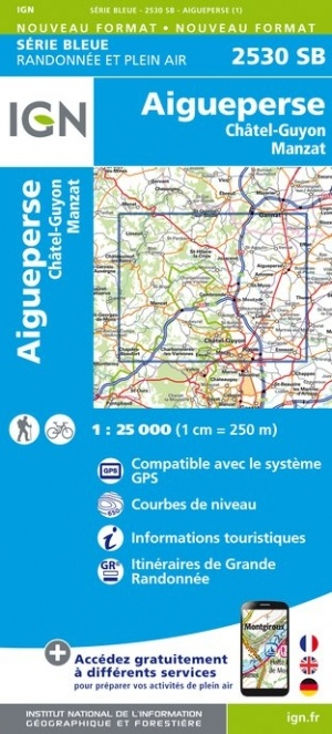 SB-2530SB Aigueperse, Châtel-Guyon, Manzat | wandelkaart 1:25.000 9782758539247  IGN IGN 25 Auvergne  Wandelkaarten Auvergne