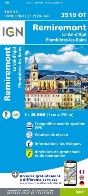 3519OT  Remiremont | wandelkaart 1:25.000 9782758550259  IGN TOP 25  Wandelkaarten Vogezen