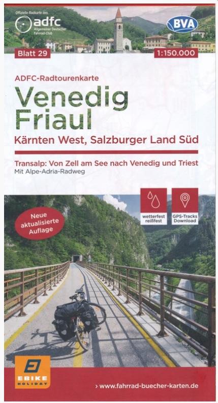 ADFC-29 Veneto, Friuli en West-Karinthië | fietskaart 1:150.000 9783870739324  ADFC / BVA Radtourenkarten 1:150.000  Fietskaarten Salzburg, Karinthië, Tauern, Stiermarken, Venetië, Veneto, Friuli