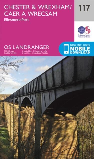 LR-117  Chester, Wrexham, Ellesmere Port   topografische wandelkaart 9780319262153  Ordnance Survey Landranger Maps 1:50.000  Wandelkaarten Midlands, Cotswolds, Oxford