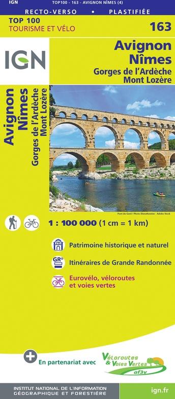 SV-163  Avignon, Nîmes | omgevingskaart / fietskaart 1:100.000 9782758547723  IGN Série Verte 1:100.000  Fietskaarten, Landkaarten en wegenkaarten Cevennen, Languedoc