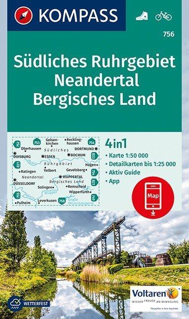 KP-756  Bergisches Land 1:50.000 | Kompass wandelkaart 9783990443378  Kompass Wandelkaarten Kompass Duitsland  Wandelkaarten Düsseldorf, Wuppertal & Bergisches Land