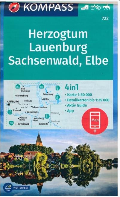 KP-722 Herzogtum Lauenburg, Sachsenwald, Elbe | Kompass wandelkaart 9783990447369  Kompass Wandelkaarten Kompass Duitsland  Wandelkaarten Sleeswijk-Holstein
