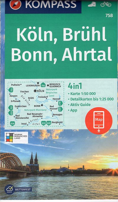 KP-758 Köln, Brühl, Bonn (Bad Godesberg), Ahrtal | Kompass wandelkaart 9783990447376  Kompass Wandelkaarten Kompass Duitsland  Lopen naar Rome, Wandelkaarten Aken, Keulen en Bonn