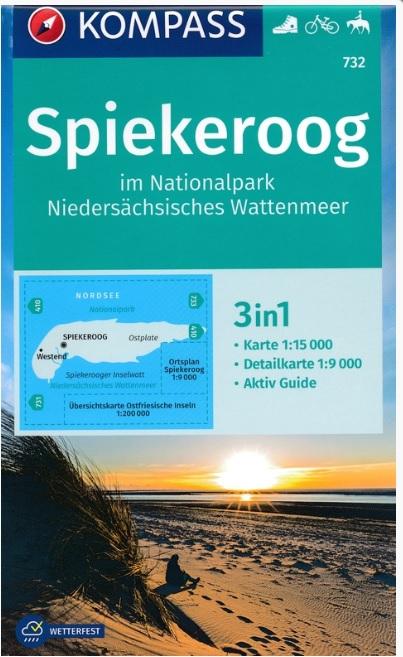 KP-732 Spiekeroog 1:15.000 | Kompass wandelkaart 9783990447529  Kompass Wandelkaarten Kompass Duitsland  Wandelkaarten Ostfriesland