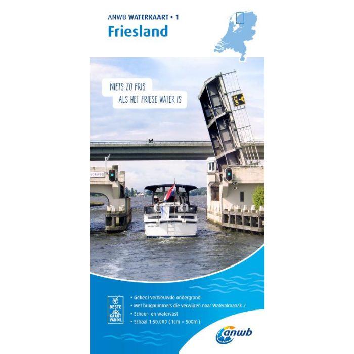 WTK-01 Friesland Waterkaart 9789018045968  ANWB ANWB Waterkaarten  Watersportboeken Friesland