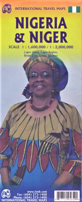 Nigeria & Niger | landkaart, autokaart 1:1.600.000 / 2.000.000 9781771295659  ITM   Landkaarten en wegenkaarten Sahel-landen (Mauretanië, Mali, Niger, Burkina Faso, Tchad, Sudan, Zuid-Sudan)
