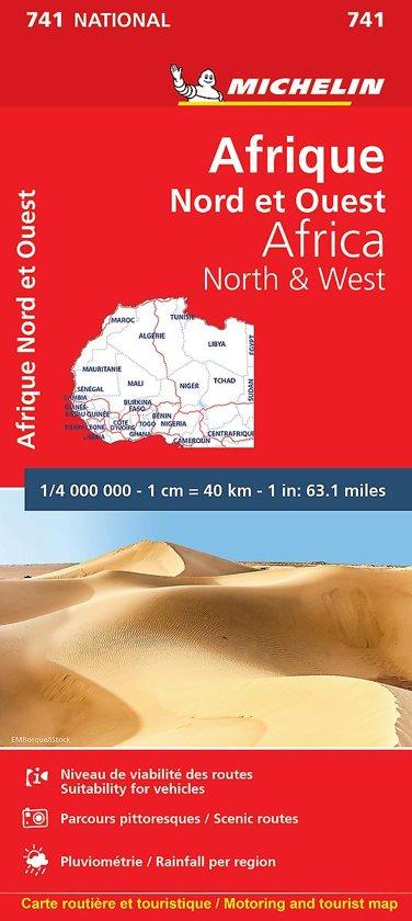 741 Afrika, Noord, West-, 1:4m. 9782067172142  Michelin   Landkaarten en wegenkaarten Afrika