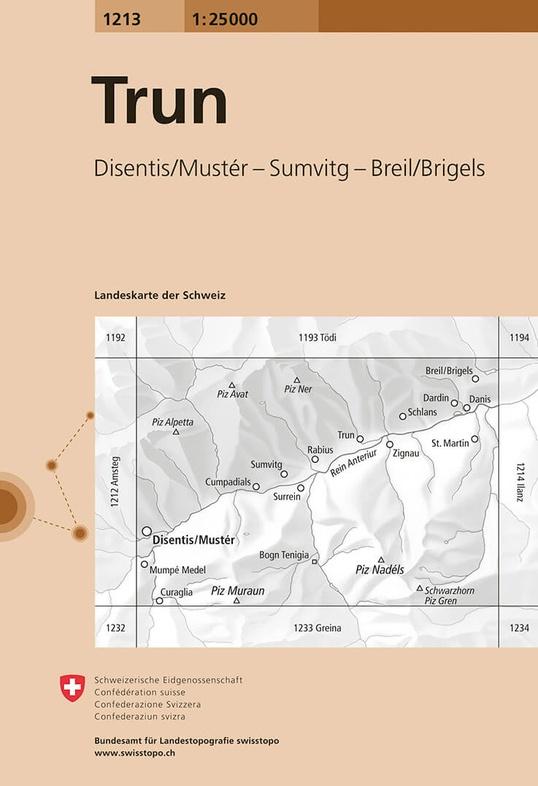 CH-1213  Trun [2015] topografische wandelkaart 9783302012131  Bundesamt / Swisstopo LKS 1:25.000  Wandelkaarten Graubünden, Tessin