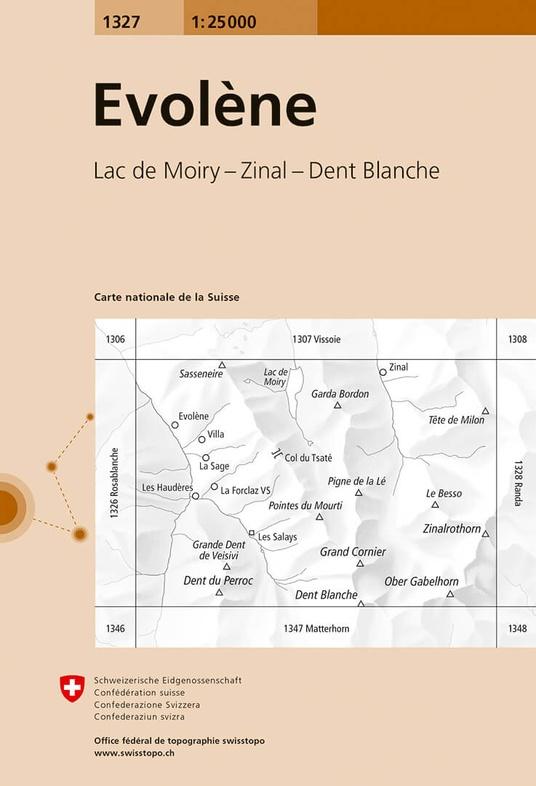CH-1327  Evolène [2018] topografische wandelkaart 9783302013275  Bundesamt / Swisstopo LKS 1:25.000  Wandelkaarten Wallis