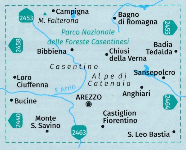 KP-2459  Arezzo - Casentino 1:50.000   Kompass wandelkaart 9783990447406  Kompass Wandelkaarten Kompass Italië  Wandelkaarten Toscane, Florence