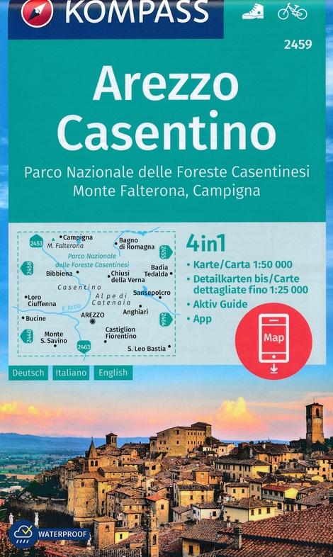KP-2459  Arezzo - Casentino 1:50.000 | Kompass wandelkaart 9783990447406  Kompass Wandelkaarten Kompass Italië  Wandelkaarten Toscane, Florence