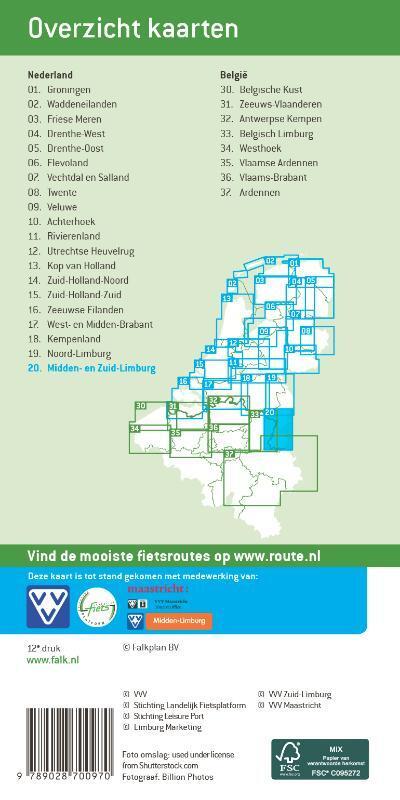 FFK-20  Midden- en Zuid-Limburg   VVV fietskaart 1:50.000 9789028700970  Falk Fietskaarten met Knooppunten  Fietskaarten Maastricht en Zuid-Limburg
