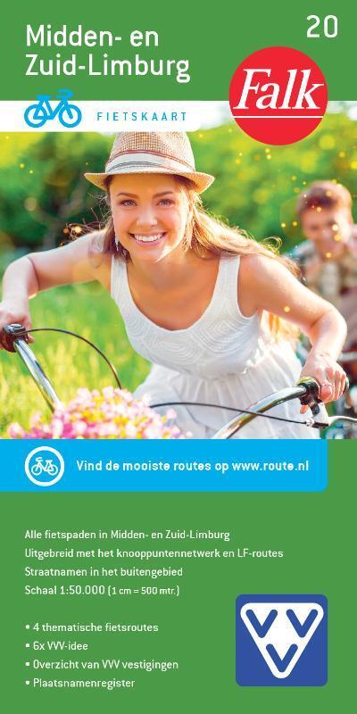 FFK-20  Midden- en Zuid-Limburg | VVV fietskaart 1:50.000 9789028700970  Falk Fietskaarten met Knooppunten  Fietskaarten Maastricht en Zuid-Limburg