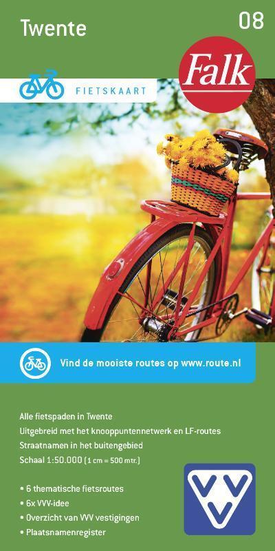FFK-08  Twente | VVV fietskaart 1:50.000 9789028701038  Falk Fietskaarten met Knooppunten  Fietskaarten Twente