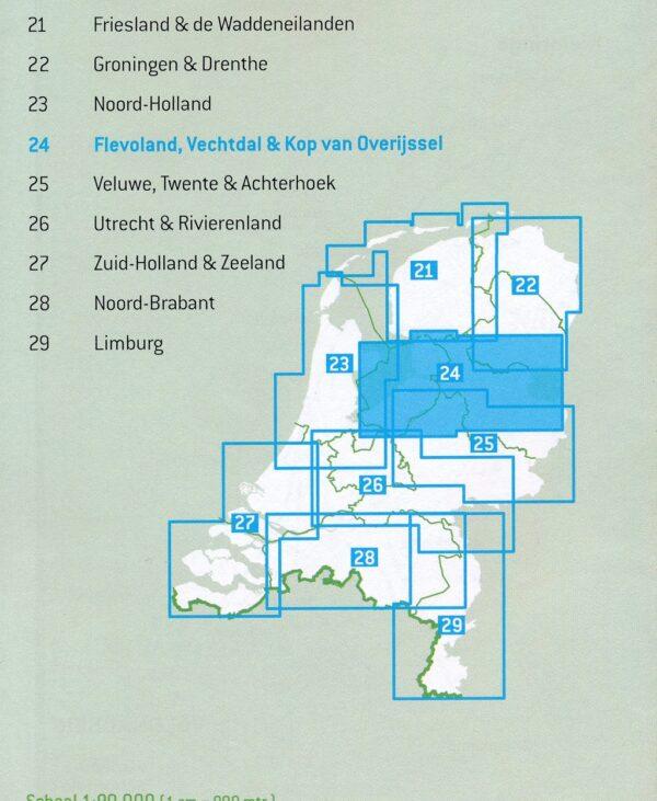 FKP-24 Flevoland, Vechtdal en Kop van Overijssel fietskaart 1:90.000 9789028730366  Falk Fietsknooppuntenkaart  Fietskaarten Kop van Overijssel, Vecht & Salland