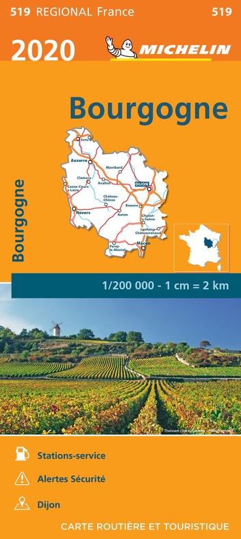 519 Bourgogne | Michelin  wegenkaart, autokaart 1:200.000 9782067243828  Michelin Regionale kaarten  Landkaarten en wegenkaarten Bourgogne