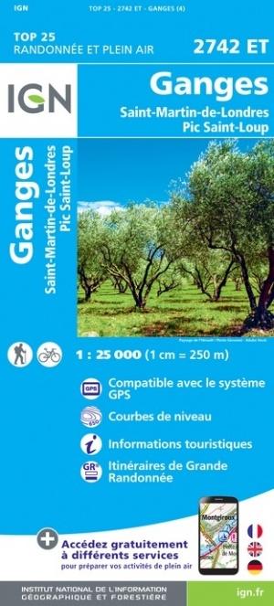 2742ET   St-Martin-de-Londres | wandelkaart 1:25.000 9782758543121  IGN TOP 25  Wandelkaarten Cevennen, Languedoc