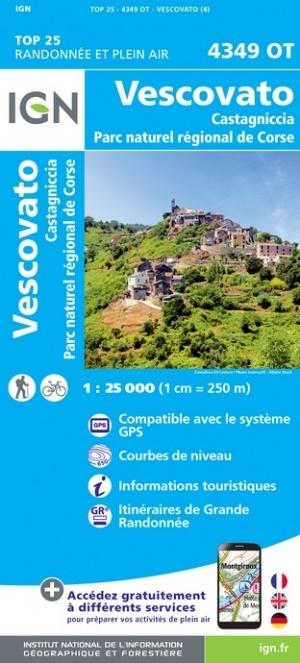 4349OT  Campitello, Vescovato, Morosaglia | wandelkaart 1:25.000 9782758546917  IGN TOP 25  Wandelkaarten Corsica
