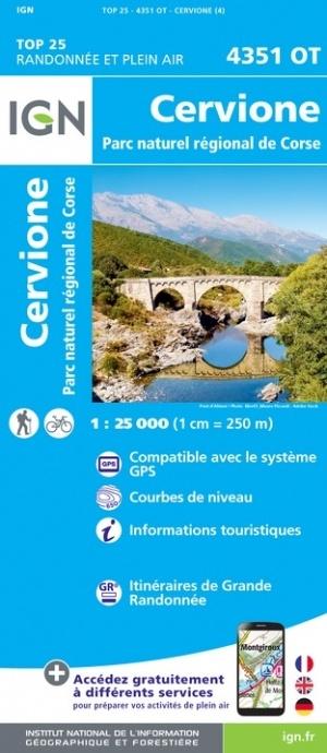 4351OT  Cervione, Sermano,  | wandelkaart 1:25.000 9782758546924  IGN IGN 25 Corsica  Wandelkaarten Corsica