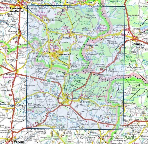 wandelkaart 2808-SB Hirson / Fourmies 1:25.000 9782758549604  IGN IGN 25 Picardië & Nord  Wandelkaarten Picardie, Nord