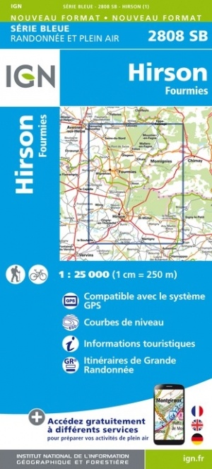 SB-2808 SB Hirson / Fourmies 9782758549604  IGN IGN 25 Picardië & Nord  Wandelkaarten Picardie, Nord