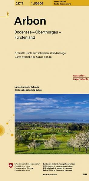 217T Arbon [2019] topografische wandelkaart 1:50.000 9783302302171  Bundesamt / Swisstopo SAW 1:50.000  Wandelkaarten Noordoost- en Centraal Zwitserland