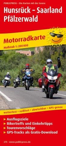 Hunsrück - Saarland - Pfälzerwald 1:200.000 9783747302750  Publicpress Motorradkarten - mit der Sonne  Landkaarten en wegenkaarten, Motorsport Saarland, Hunsrück
