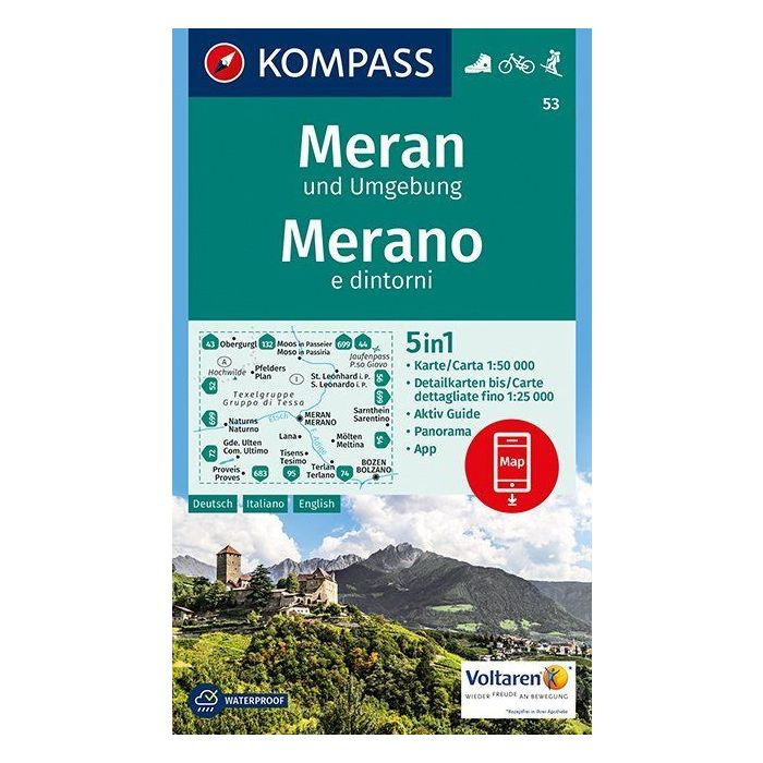 KP-53 Meran/Merano 1:50.000 | Kompass wandelkaart 9783990442760  Kompass Wandelkaarten Kompass Italië  Wandelkaarten Zuid-Tirol, Dolomieten