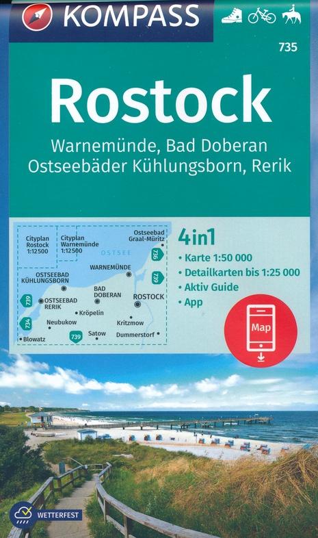 KP-735  Rostock, Warnemünde, Bad Doberau | Kompass wandelkaart 9783990447383  Kompass Wandelkaarten Kompass Duitsland  Wandelkaarten Mecklenburg-Vorpommern